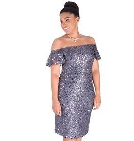 LEYA-Off the Shoulder Sequined Dress