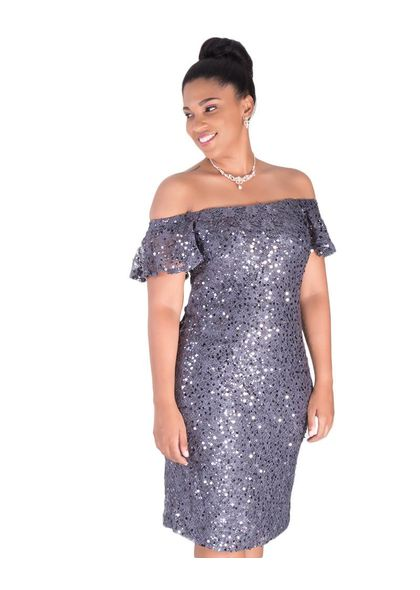 LEYA-Off the Shoulder Sequined Dress