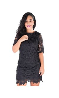 LEISA-Lace Short Sleeve Dress