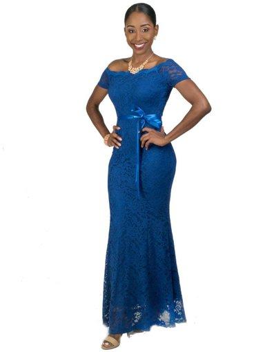 Full Length Lace Off Shoulder Dress