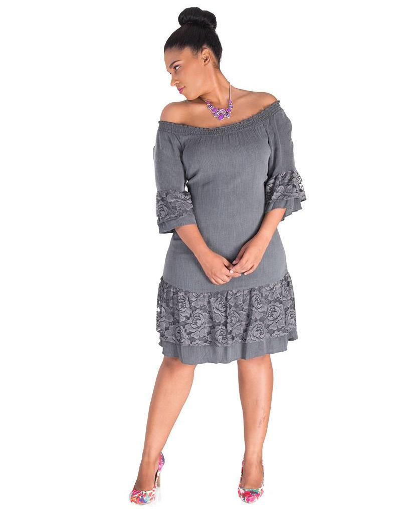 Signature KAI-Lace Accent 3/4 Sleeve Dress