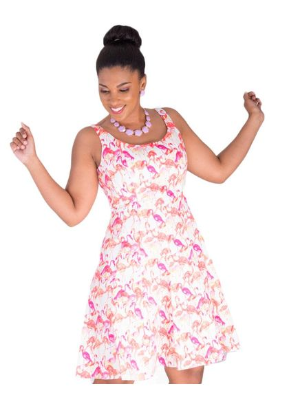 Pappagallo KALANI-Flamingo Print  Sleeveless Dress