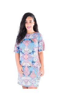 IDELL-Printed Short Sleeve Dress