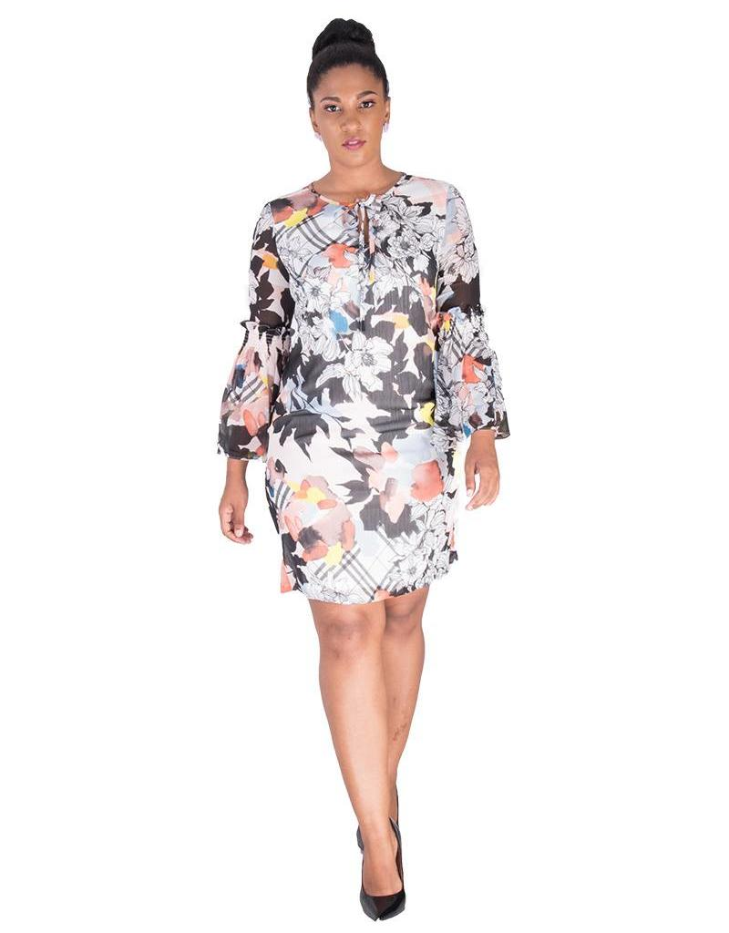 FINN-Printed 3/4 Bell Sleeve Dress