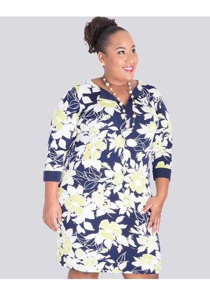 IANNA-Plus Size Printed Three Quarter Sleeve Dress