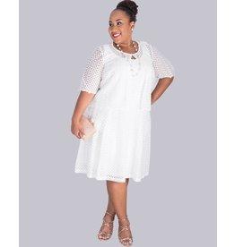 Signature CAMILLA-Plus Size Eyelet Dress with Sheer Eyelet Jacket