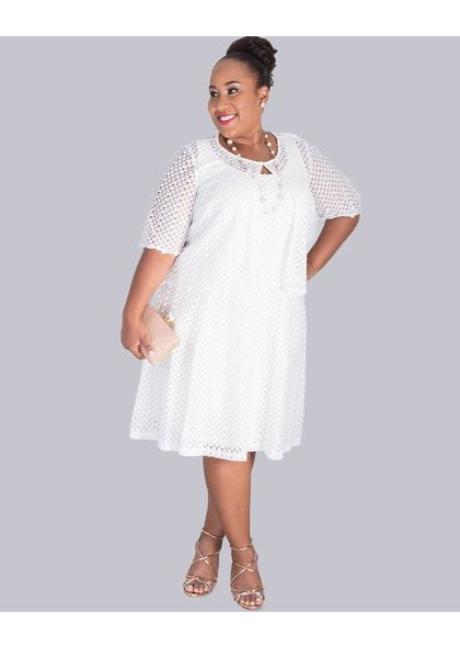 Signature CAMILLA-Plus Size Eyelet Dress with Sheer Eyelet Jacket