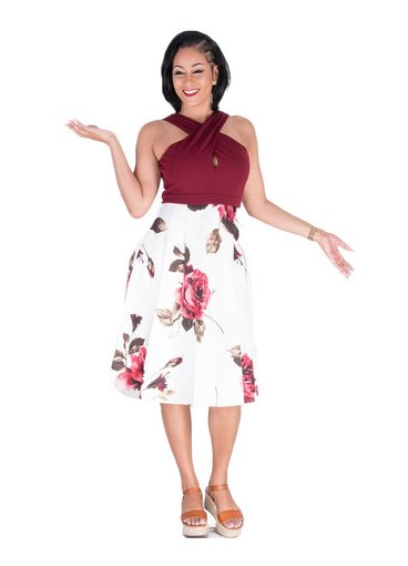 SABELA-Criss Cross Halter Fit and Flare Dress