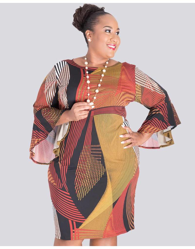 IFE- Plus Size Printed Three Quarter Sleeve Dress