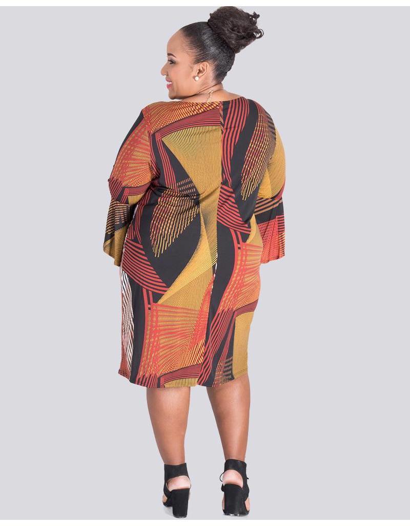 IFE- Plus Size Printed Three Quarter Sleeve Dress