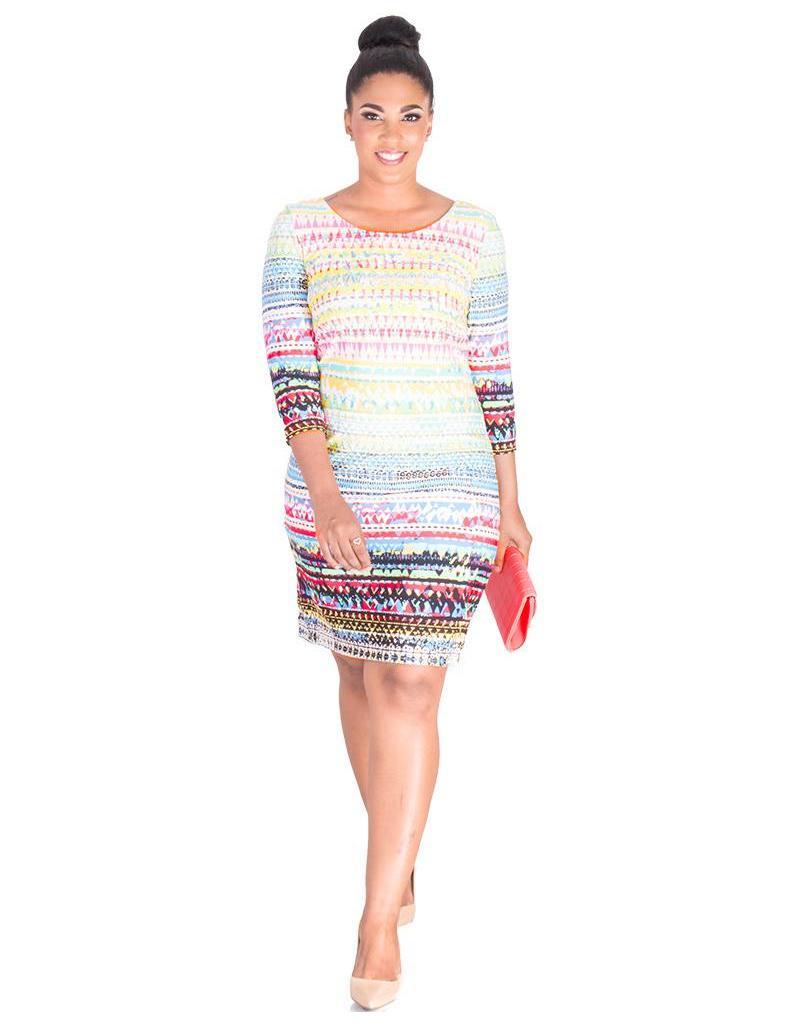 IGRAINE- Printed Three Quarter Sleeve Dress