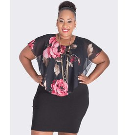XENIA-  Plus Size Printed Pop Over Dress