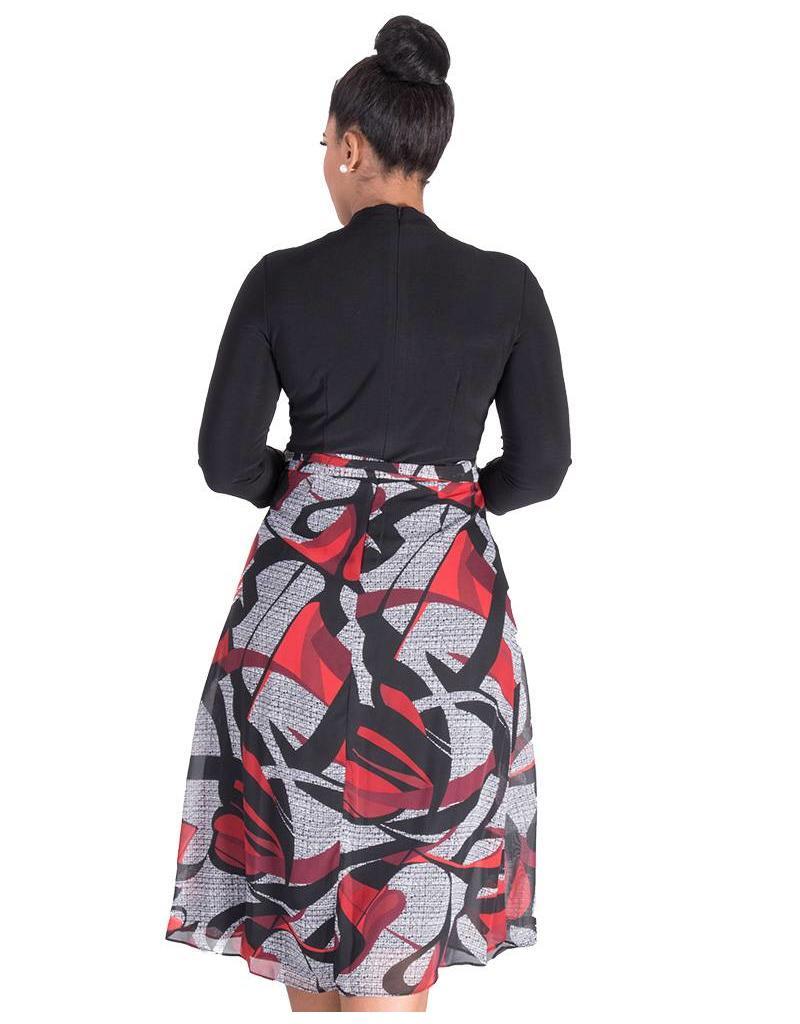 FIANE-  Printed Three Quarter Sleeve Dress