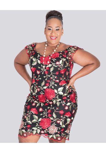 MADIGAN-Plus Size Printed Sleeveless Dress
