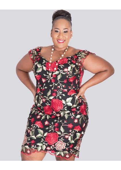 MADIGAN-Plus Size Printed Sleeveless Dress