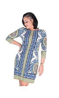 IRIDA - Printed Three Quarter Sleeve Dress