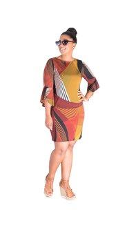 IFE- Printed Three Quarter Sleeve Dress