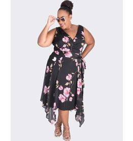 FAUN- Plus Size Printed Handkerchief Bottom Dress