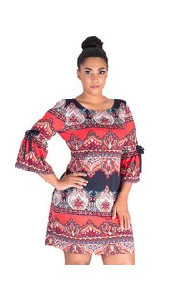 IOLANI- Printed Dress with Bell Sleeves