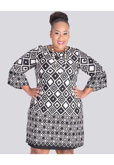 RAIZEL-Plus Size Printed 3/4 Sleeve Dress