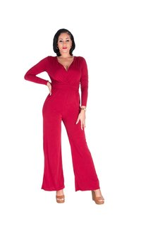 L & C IMAJICA-  Cross Over Tie Waist Jumpsuit
