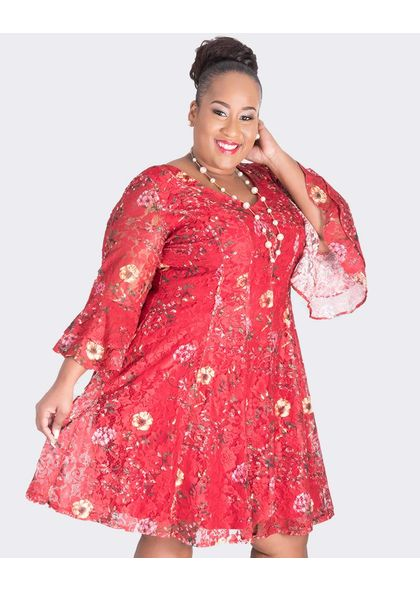 LEXIA-Plus Size Lace Three Quarter Sleeve Dress