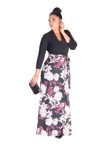 FIANNA- Solid and Floral Full Length Dress