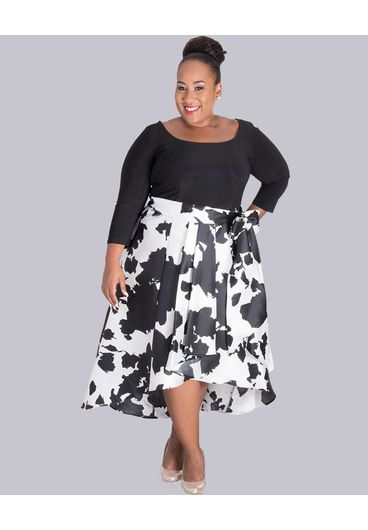 SIENNA- Plus Size  Printed High Low Print Dress