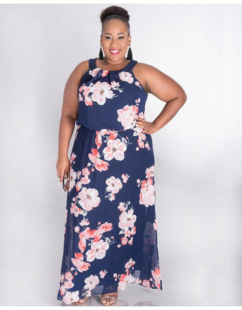Signature FEODORA- Plus Size Printed Blouson Maxi Dress