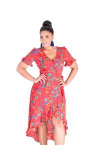 RANDI-Printed Faux Wrap Dress