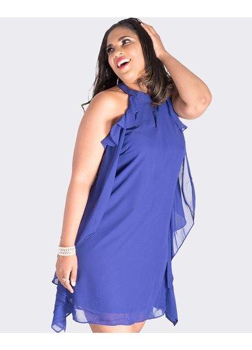 FABIENNE-Halter Flutter Dress