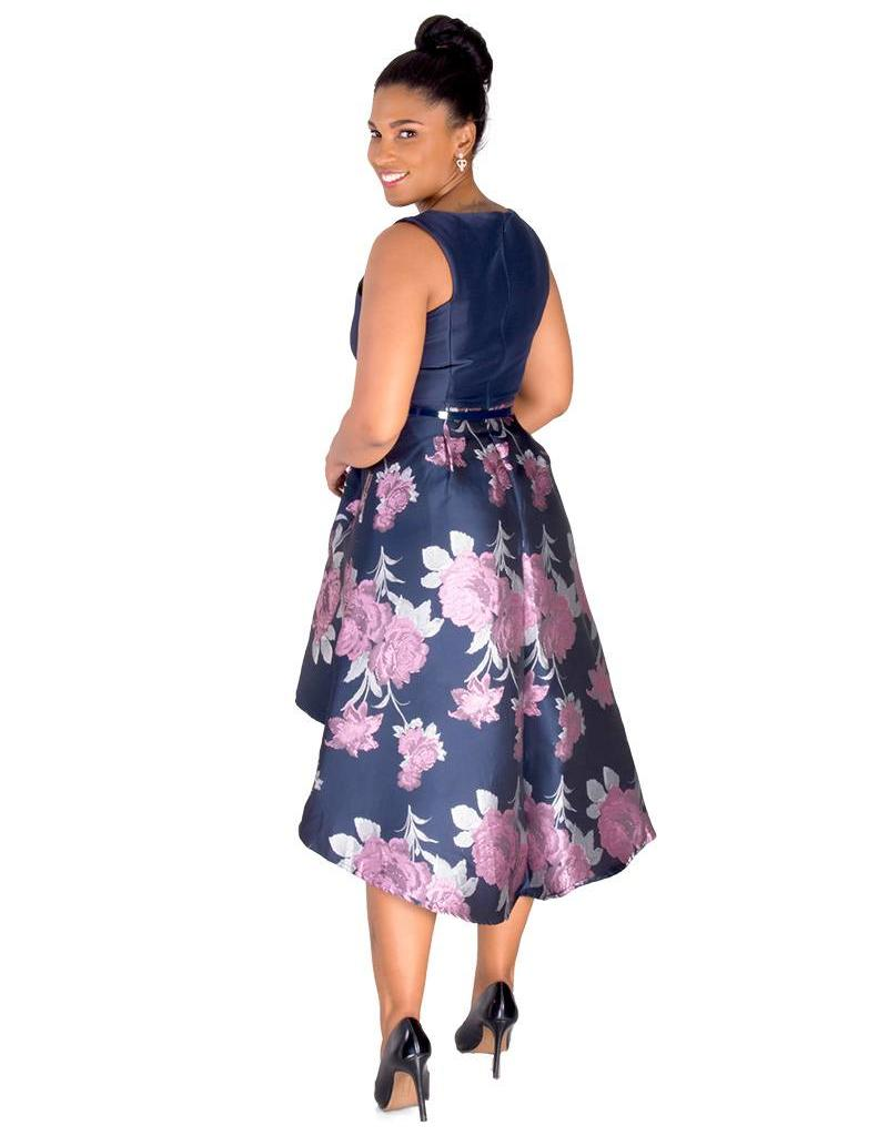 SAVANNAH-Colour Block High Low Dress