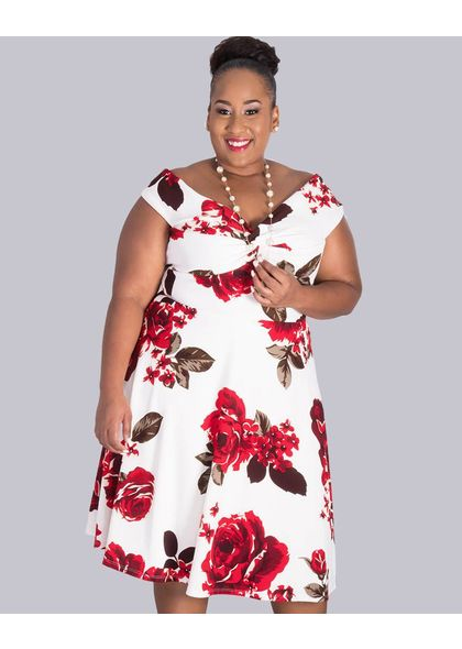 BONITA- Plus Size Twist Front Off Shoulder