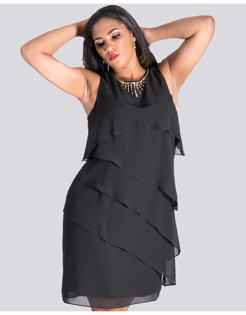 FERELITH- Layered Sleeveless Dress with Rhinestone-rimmed neckline