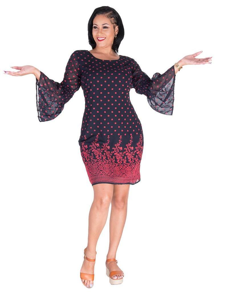 Signature FAIRUZA- Placement Print Three Quarter Sleeve Dress