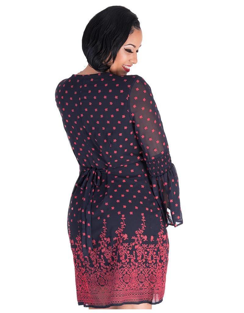 Signature FAIRUZA- Placement Print Three Quarter Sleeve Dress