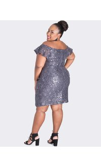 LEYA- Plus Size Off the Shoulder Sequined Dress