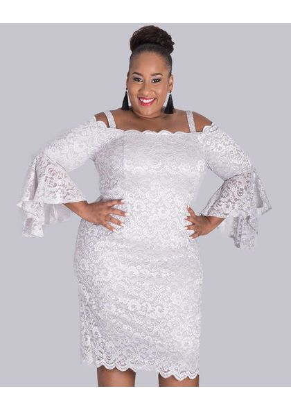 Mariella- Plus Size Sequined Cold Shoulder 3/4 Sleeve Dress