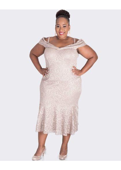 LIZZIE-Plus Size Cold Shoulder Lace Dress