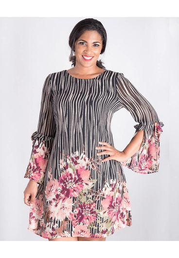 CLUB 408 FAWN-Printed Three Quarter Sleeve Dress