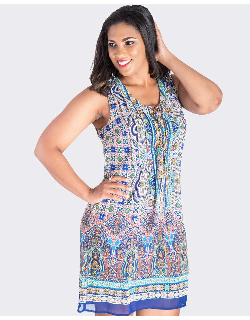 FERNANDA-Printed Sleeveless Dress