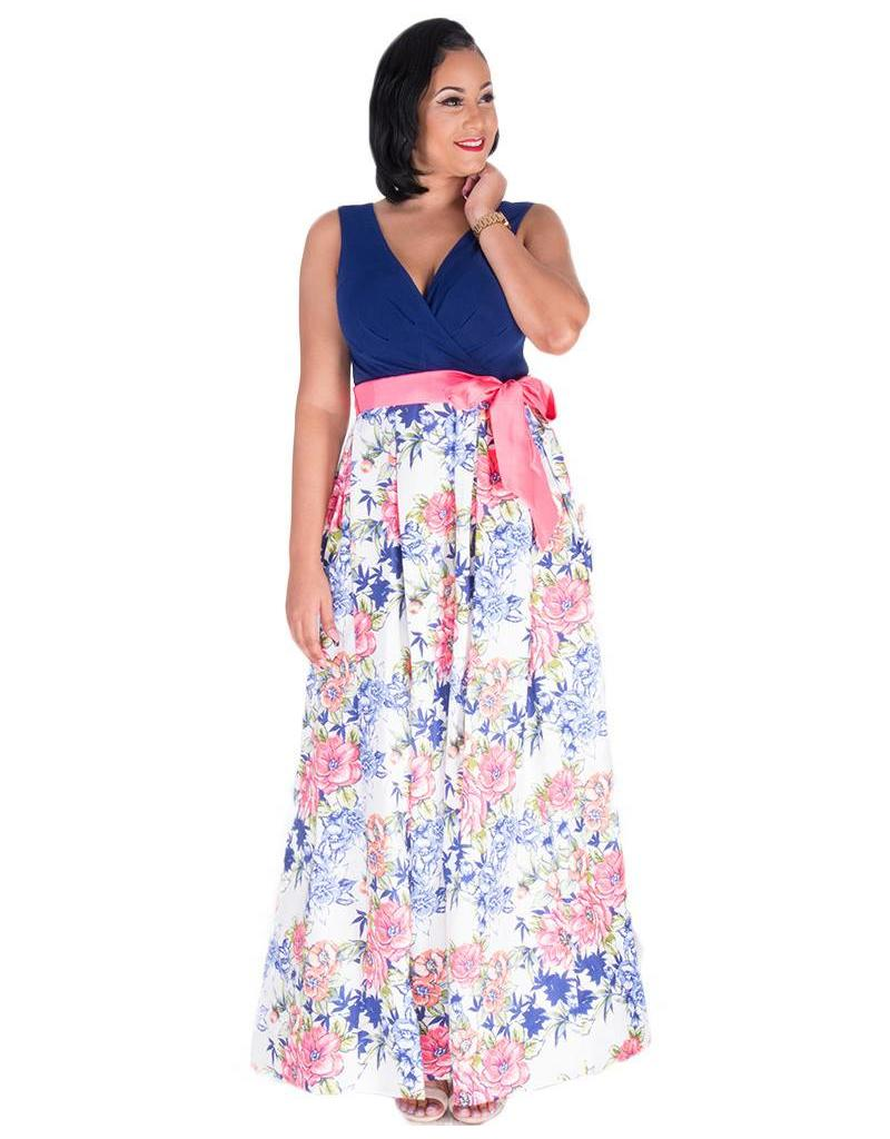 HEIDI-Printed Crossover Top Broad Strap Gown