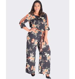 FIJI- Printed  Three Quarter Sleeve Jumpsuit