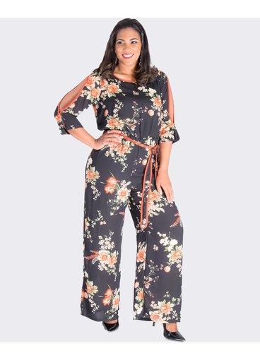 FIJI- Printed  Three Quarter Sleeve Jumpsuit