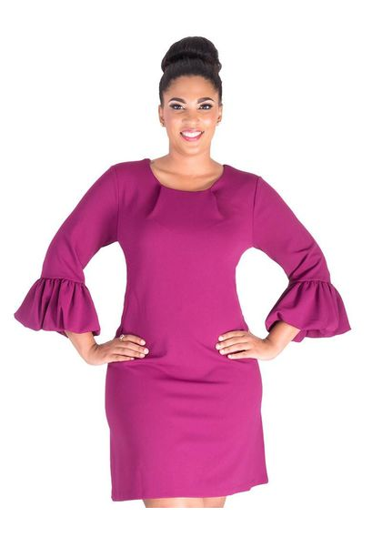 Nina Leonard RALEIGH- 3/4 sleeve dress with bell sleeve