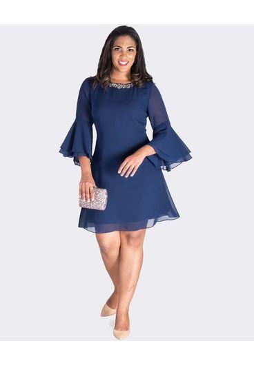 FEDERICA- 3/4 Sleeve Dress with Bejewelled Neckline