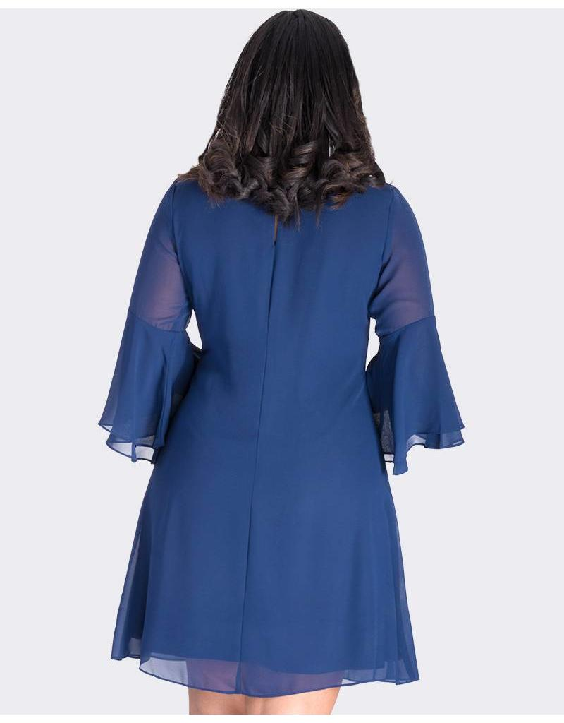 FEDERICA- 3/4 Sleeve Dress with Bejewelled Neckline