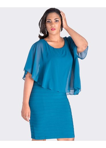 Scarlett INESSA-   Chiffon Cape Dress