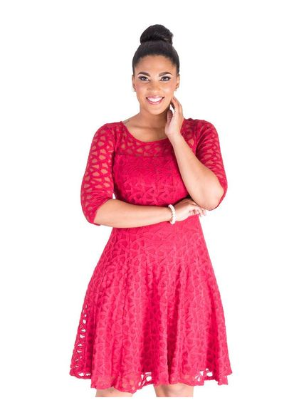 LAINEY- Three Quarter Sleeve Fit and Flare Dress