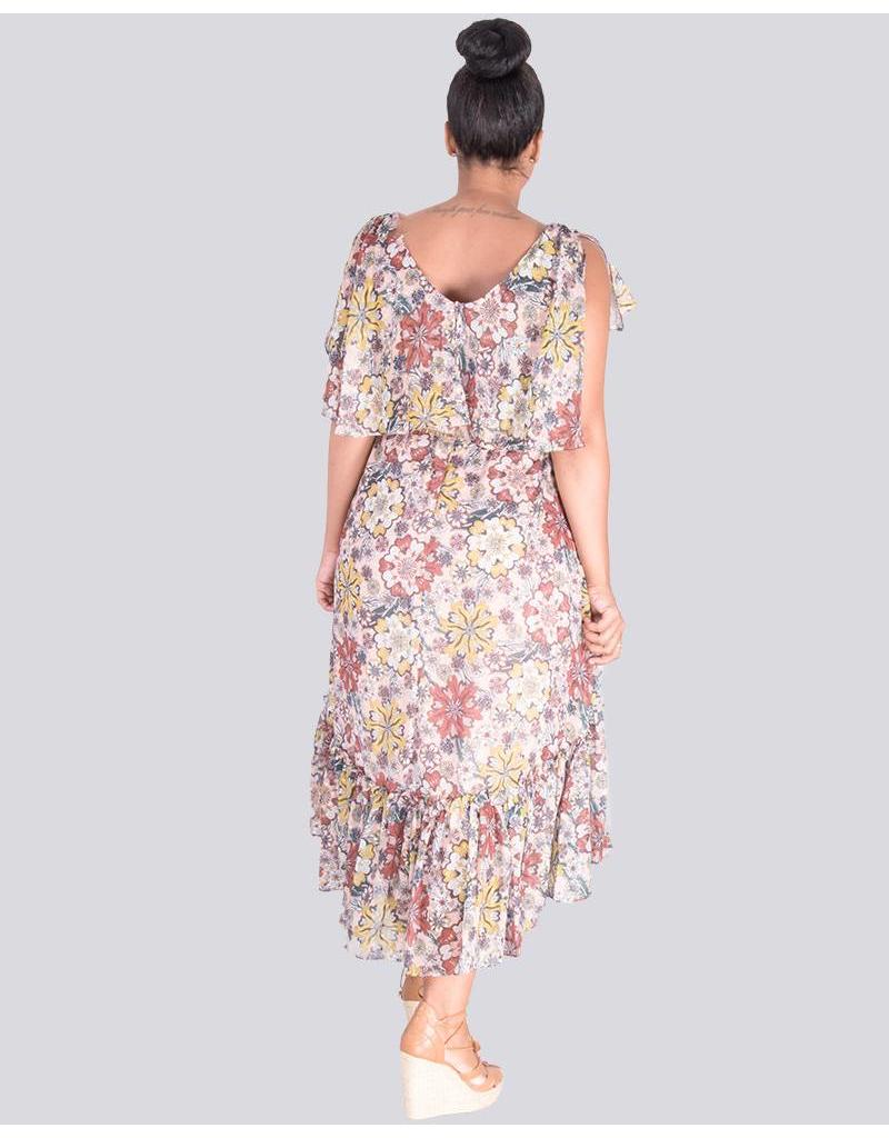 FENNE-Floral Print Fit and Flare Dress